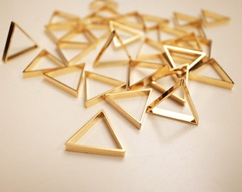 10 pieces of newly made cut raw brass thick tube outline charm in small triangle 16x2.5 mm with new plating in 24k gold