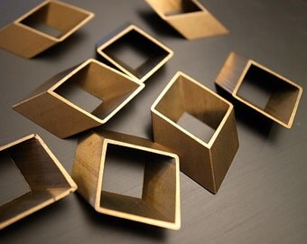 6 pieces of vintage old stock cut raw brass tube charm in rhombus  3d square geometric shape 34x21mm