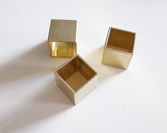 15 pieces of vintage cut raw brass  tube cubic square shape bead cap 12 mm cube oversized