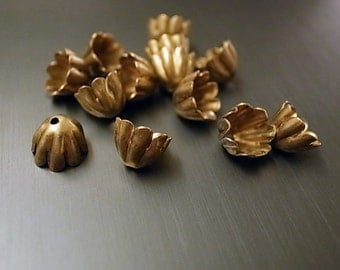 30 pieces of vintage raw brass super cute bead cap with hole thicker on the top than bottom