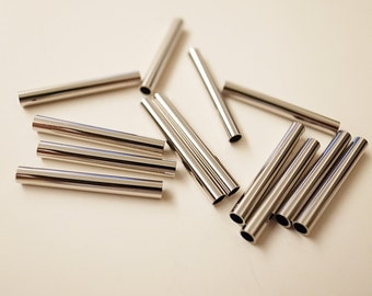20 pieces of cut raw brass straight tube with new plating  in steel tone 2.5x20mm long