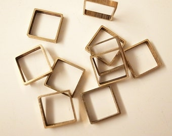 12 pieces of vintage cut raw brass tube outline charm in square box geometric shape 3d cube 12.5 x 12.5 x 2.5 mm