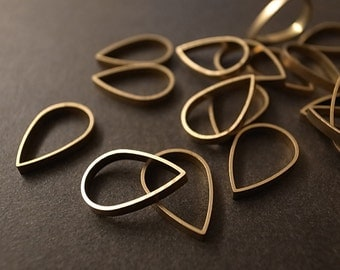 10 pieces of newly made raw brass tube outline charm in teardrop shape in16x2mm dangle
