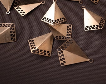 15 pcs bent triangle charm with little triangle holes  22 x 17mm