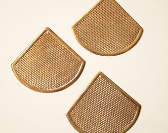 4 vintage raw brass oversize fen shape charm  mesh stamping 6.3 cm wide 5.5cm tall with hole