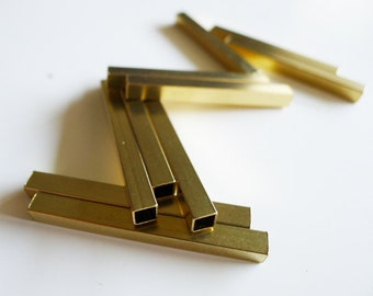5 pieces of newly made raw brass tube square shape bead cap 5x5x50 mm long cube rod polished