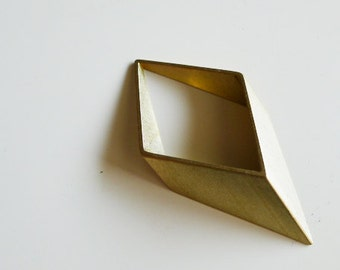 1 pieces of large newly made thick cut raw brass tube outline charm in rhombus geometric shape 3d 70x35mm