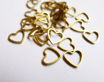 20 pieces of newly made raw brass tube outline charm in tiny heart shape 9 x 1.2 mm