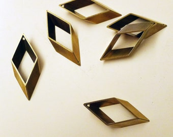 8 pieces of newly made cut raw brass tube outline charm in rhombus geometric shape 17x5x43mm with one hole
