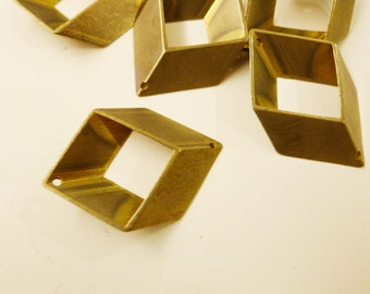 12 pieces of newly made cut raw brass tube outline charm in rhombus  3d square geometric shape with 2 holes 34 x 21 mm