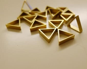 60 pieces of newly cut raw brass thick tube outline charm in tiny triangle 10x2.5mm thick
