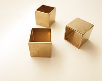 4 pieces of vintage cut raw brass  tube cubic square shape bead cap 18 mm cube thick large