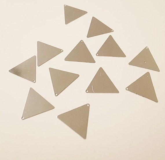 20 newly made  raw brass die cut triangle stamping charm thin tag with new plating in steel color 17.5mm each side