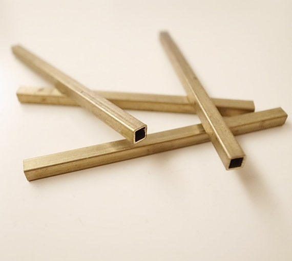 4 piece of vintage thick brass tube straight shape in square rod 3.5x3.5x60mm