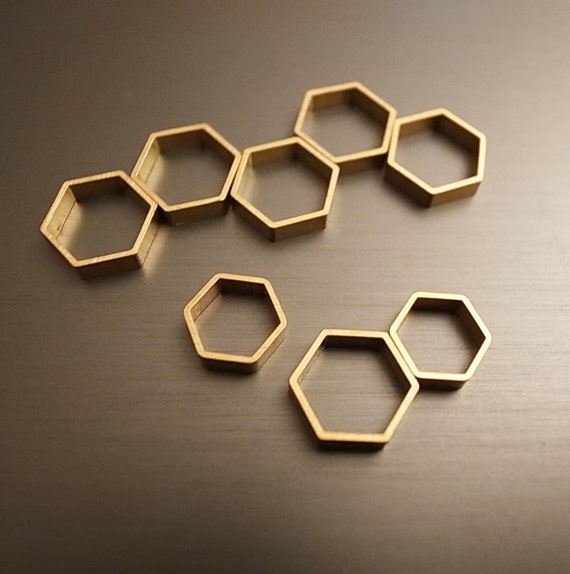 15 pieces of newly made cut raw brass tube outline charm in hexagon shape geometric 9x10x2.5mm wide larger size