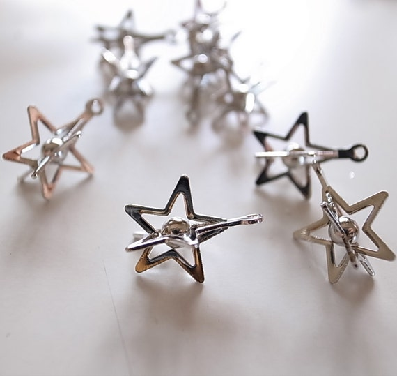 15  vintage raw brass star shape caged beads charm with metal ball bead inside with plating in silver color