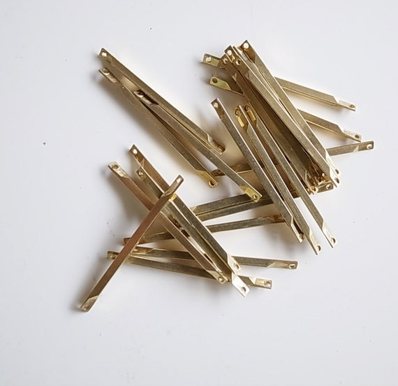 24g  about 50 pieces of vintage raw brass connector bar link 30 mm long make your own chain