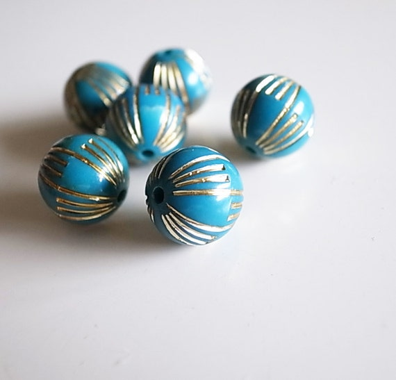 15 pcs of vintage Japanese plastic beads teal blue green with silver lines very cute 10 mm many colors