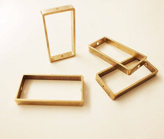 10 pieces of new cut  thick slice raw brass tube outline charm in rectangular geometric shape 30x15x3.5mm with 2 holes