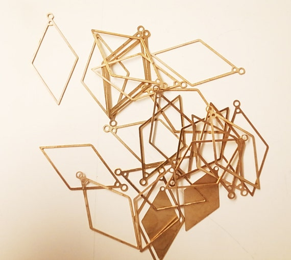 50 newly made brass diamond FRAME ONLY outline die cut stamping charm 15x30x0.5mm with holes