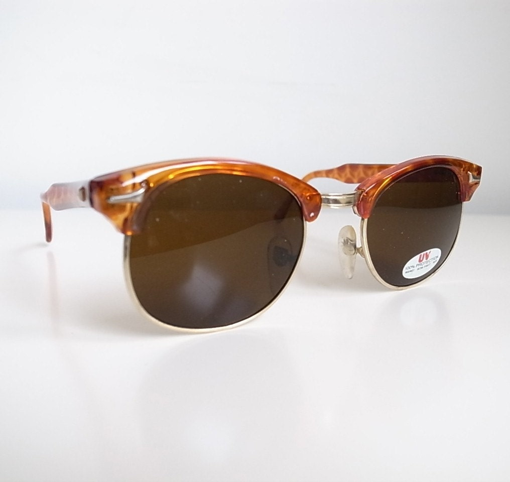 Vintage brown wayfarer half frame sunglasses metal detail