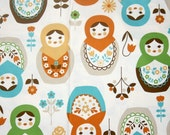 "Matryoshka Print Japanese Fabric Natural Colors 100 cm by 106 cm or 39"" by 42"" one meter"