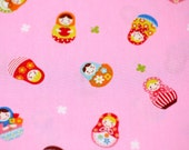 Russian Doll Matryoshka and Clovers Print Japanese Fabric 60 cm 108 cm or 23.5 by 42 inches
