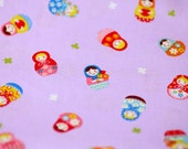 Matryoshka and clover print  Print Japanese fabric purple