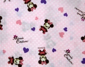 Disney Cartoon Minnie  Mouse  Print Japanese fabric baby pink