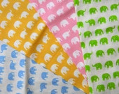 Tiny Elephant print with different colors  Fabric Scraps