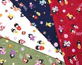 Japanese Fabric little girl in kimono 4 colors to choose half meter nc44
