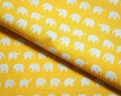 Tiny Elephant fabric yellow background 50  cm by 106 cm or 19.6 by 42 inches