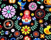 Matryoshka Russian dolls fabric black