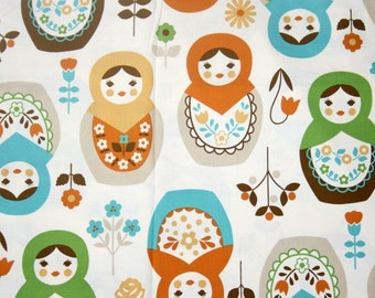 """Matryoshka Print Japanese Fabric Natural Colors  50 cm by 106 cm or 19.6 """" by 42"""" half  meter"""