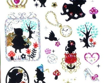 Japanese Stickers with Glitter  Fairy Tale Theme ( Alice in wonderland, Cinderella, Little Red Riding Hood and many more ) 72485