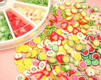 480 slices of 12 Different Fresh Fruit Slices  Decoden Kawaii Japanese Deco Parts