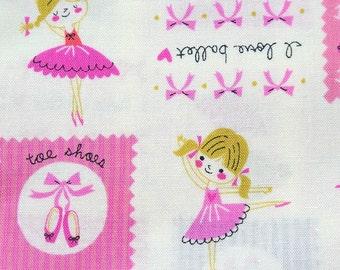 Precut fabirc Japanese fabric Ballerina print pink Fat quarter  nc54