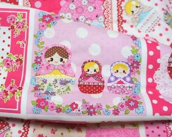 Kawaii Matryoshka fabric pink