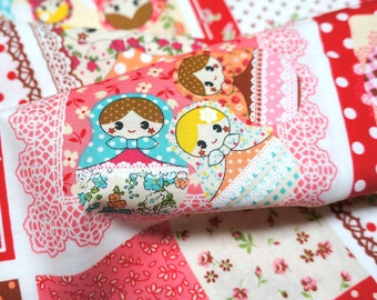 Kawaii Matryoshka fabric red