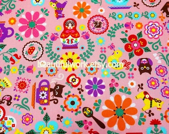 Matryoshka Russian dolls fabric Half meter A4