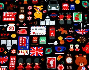 Japanese Fabric London theme 50 cm by 53 cm or 19.6 by 21 inches N132