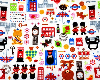 Japanese Fabric London theme 50 cm by 53 cm or 19.6 by 21 inches A3