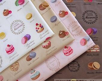 Yuwa Fabric Scrap  Macaron and sweets set of 4 fat quarters