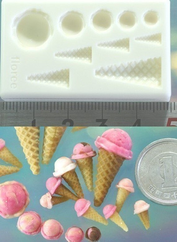 Delicious Kawaii Ice Cream Scoop and Cone Sweet Desserts Extremely Finely Detailed Japanese Resin or Resix Clay Mold for making miniature pieces