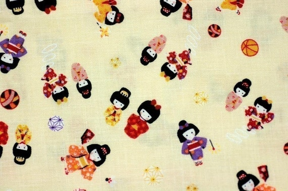 Japanese Fabric with Japanese Traditional Style Print Little Girls With Kimono Cream