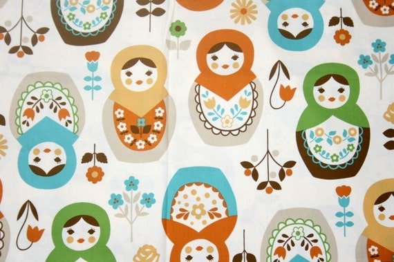 """Matryoshka Print Japanese Fabric Natural Colors 100 cm by 106 cm or 39"""" by 42"""" one meter"""