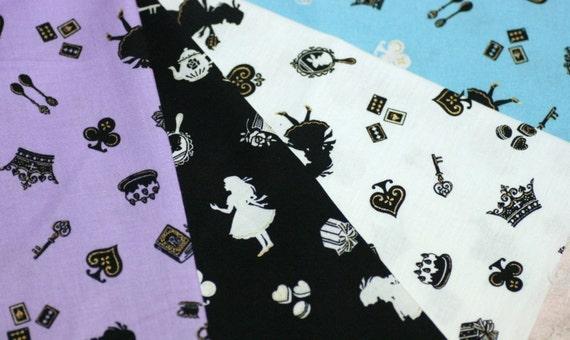 Alice in wonderland fabric Scraps Set of  4 pcs