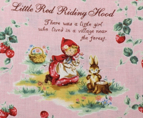 Retro Style Little Red Riding Hood Print Japanese Fabric A