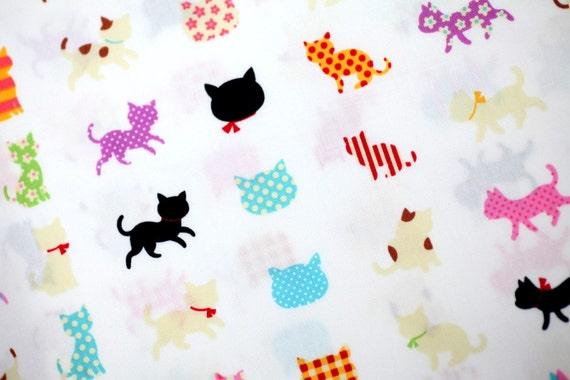 Colorful Cat Print Half Yard C1