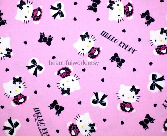 Hello kitty fabric Hello kitty and bow pink